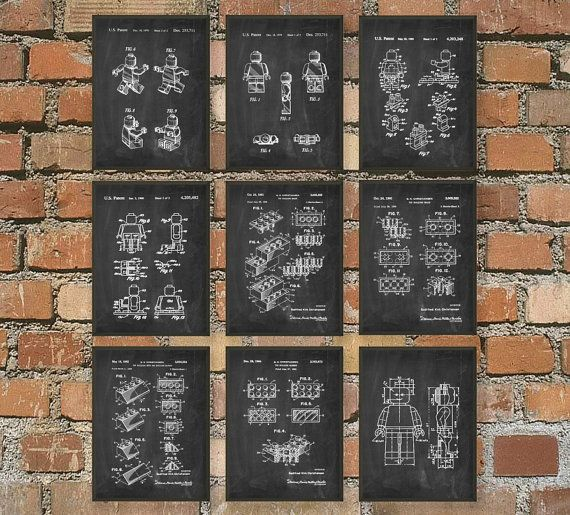 Ultimate Lego Patent Wall Art Posters  Lego Room by QuantumPrints