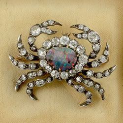 Gold on silver Victorian Fine quality rare diamond and black opal crab brooch…