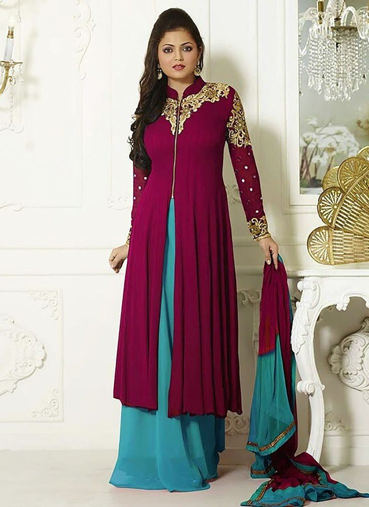 MAGENTA COLOR GEORGETTE PALAZZO ANARKALI SUIT WITH CHIFFON DUPATTA Buy Now : http://bit.ly/1LPq7RZ Price : Rs. 2949/- Free Shipping in India #AnarkaliCollections   #AnarkaliSuits   #Salwarkameez