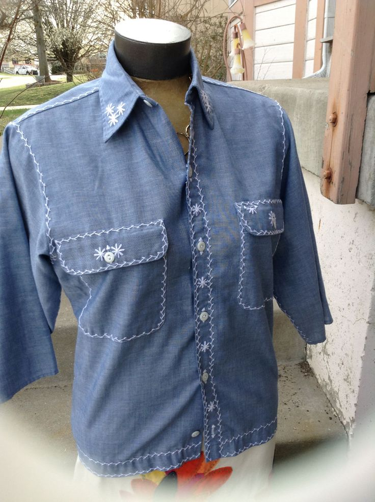 Excited to share the latest addition to my #etsy shop: Vintage hipster kitsch 60s Big Mac by Penneys ladies chambray blue blouse with white embroidery size small free domestic shipping