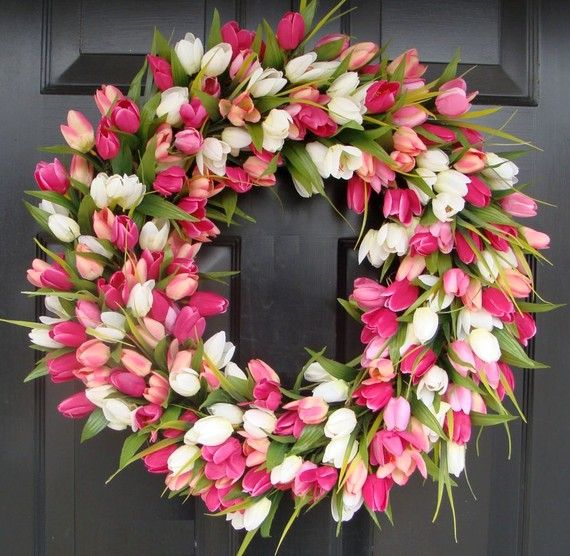 Amazing Pink Tulip Wreath 24 inch Easter Wreath Wreath matches front door