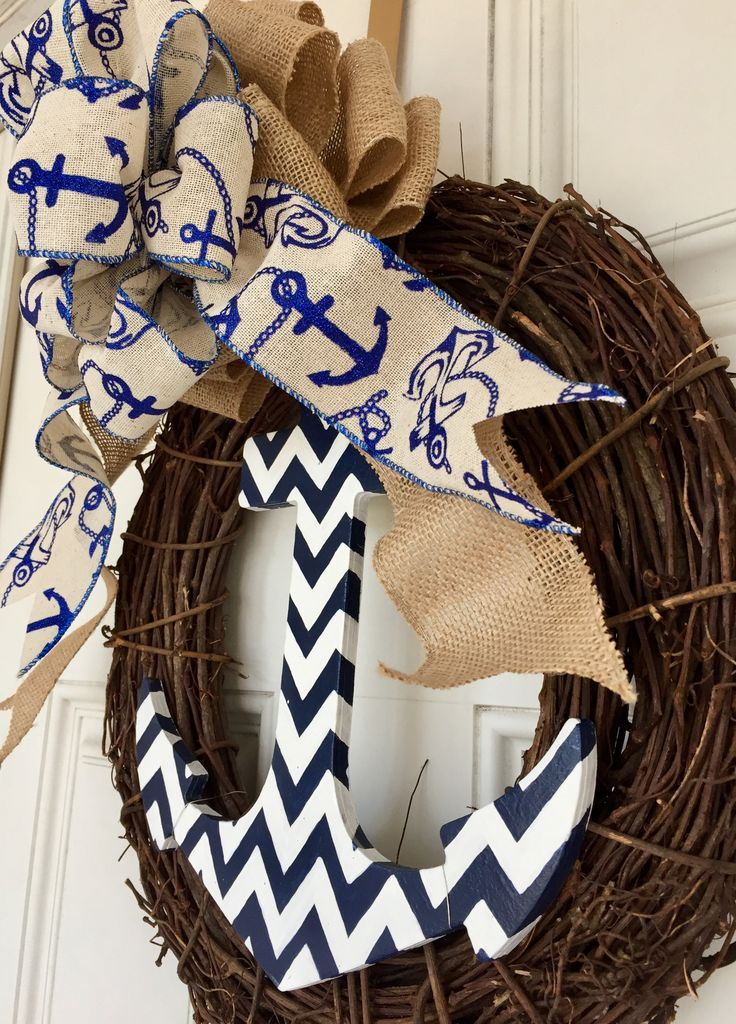Etsy Divinedesignsbymlj Chevron hand painted anchor with burlap and anchor wired ribbon