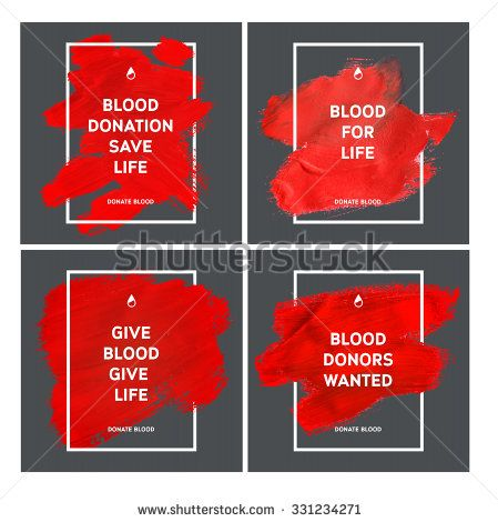 Creative Blood Donation motivation information donor poster. Donate Blood. World Blood Donor Day banner. Red stroke and text. Medical design elements. Grunge texture.