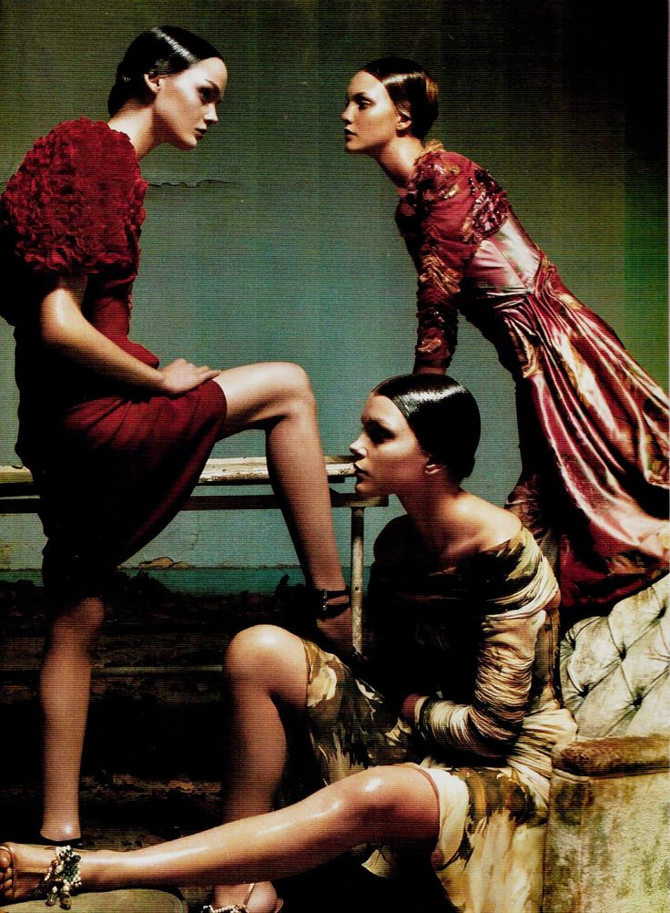 Lisa Cant, Caroline Trentini & Jessica Stam photographed by Steven Meisel for Vogue Italia, March 2004.