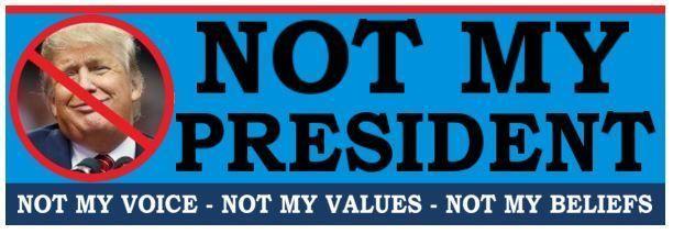 NOT MY PRESIDENT  - ANTI Trump POLITICAL BUMPER STICKER