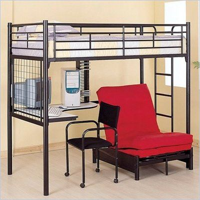 For Parker. Coaster Max Twin Over Futon Metal Bunk Bed with Desk in Black Finish