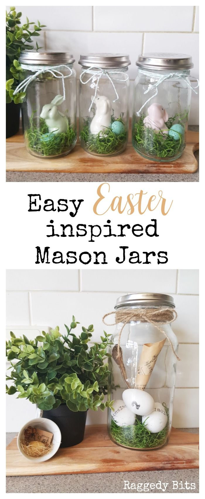 Make some super simple easy Easter Inspired Mason Jars for Easter as gifts or to decorate with around your home | Full tutorial | www.raggedy-bits.com