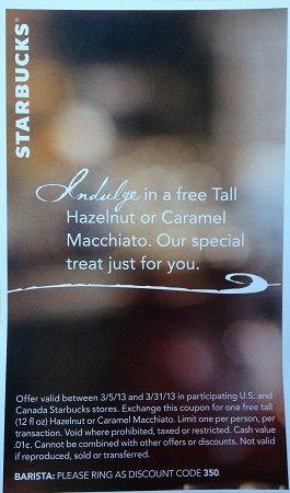 Starbucks Coupon: FREE Hazelnut or Caramel Macchiato!