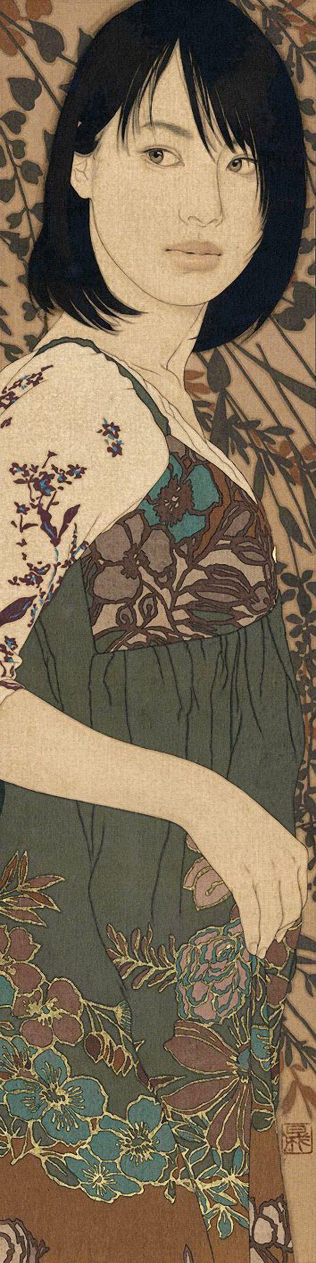 """""""水溜り"""" Emiko 067 - Ikenaga Yasunari (Japanese, b. 1965), mineral pigments, hide glue, soot ink on linen canvas, 2010 {figurative art beautiful Japanese female asian woman mixed-media painting #loveart} ikenaga-yasunari.com"""