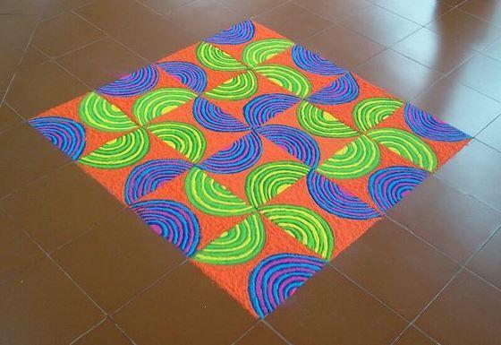 3D Holi Rangoli Design
