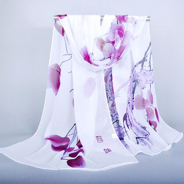 Women Soft Chiffon Oversize Print Shawl Outdoor Vacation Sunscreen Towel Visor Scarves online - NewChic