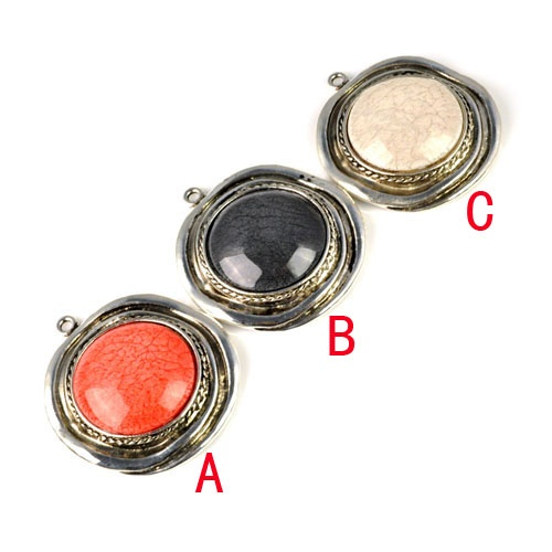 3 pcs/lot Retro Silver Round Resin Pendant Jewellery Accessories Pendant PT-703