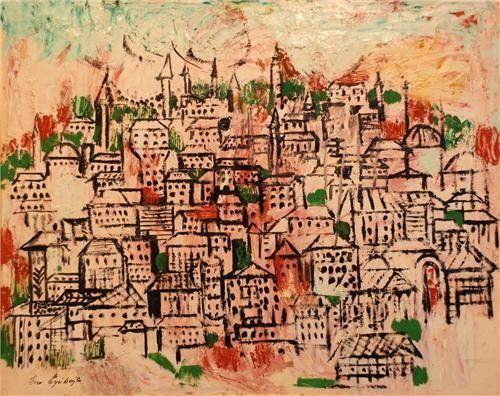 Eren Eyüboğlu, Cihangir, oil on hardboard, 45 x 56 cm.
