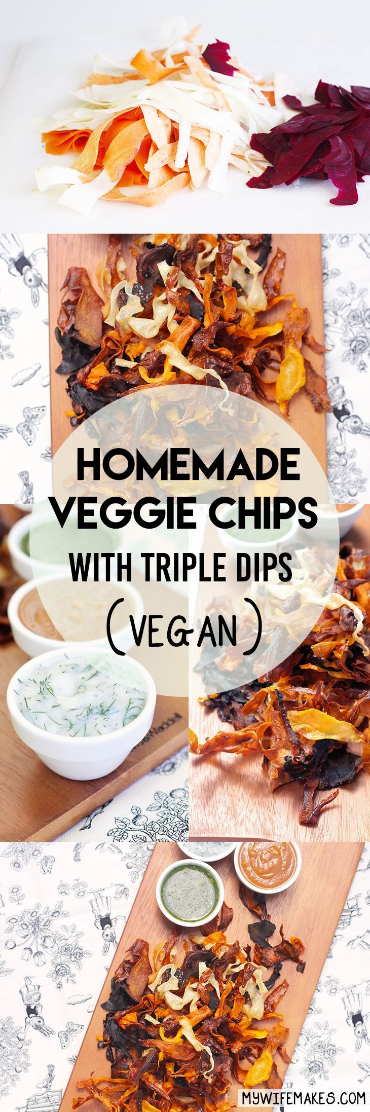 A simple, low-cost recipe for homemade Vegan-Friendly Veggie Chips, complete with special 'Cross-Cultural' Dipping Sauces (Coriander Chutney, Vegan Lemon Dill Mayonnaise and Hoisin Peanut Sauce). #vegan #veganfood #chips #homemade #recipes #vegetarian