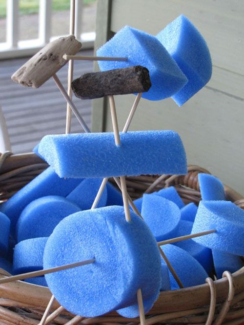 Pool noodle sculptures. Shapes made from pool noodles, bamboo skewers, tooth picks and other loose items.