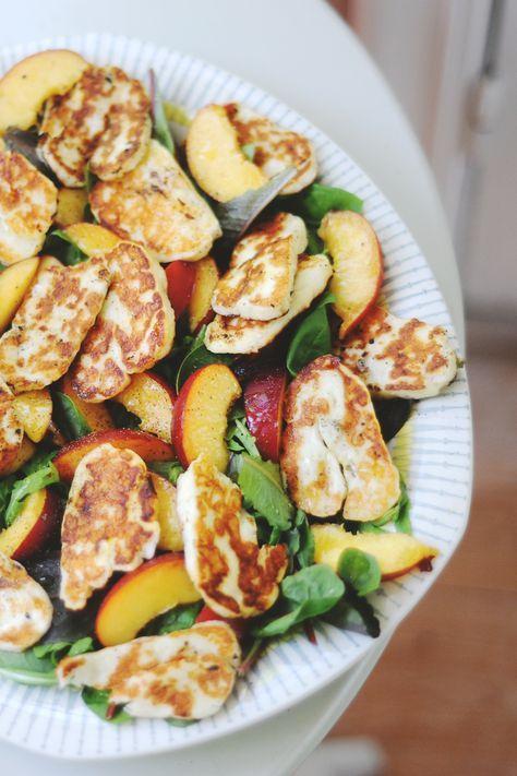 halloumi and nectarine salad.