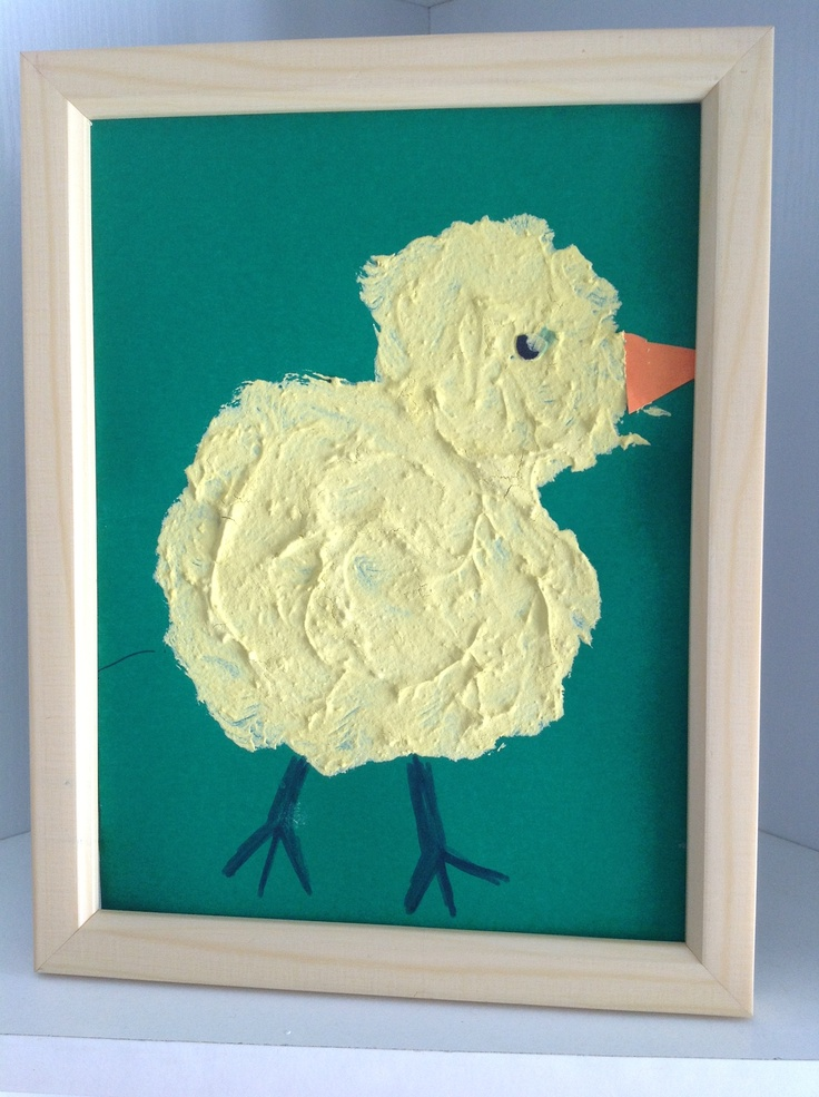 Spring Chicks  Spring Craft for toddlers and young children    Have a look at some photos of little chicks, or if you can have a look at the real thing.    Mix flour with yellow paint so that the chicks will look fluffy and textured. Let your child paint the body and use felt pens and card for legs, eyes and beak.    Put it in a frame, it will look great and your kids will love it!