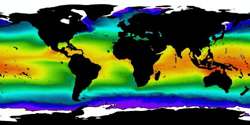 Map of Average Ocean Temperatures from 1985 to 1987