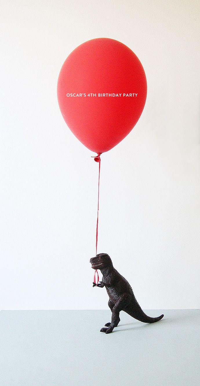 Love the idea of dinosaur holding balloon