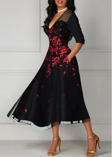 V Neck Mesh Panel Flower Print Black Dress on sale only US$37.47 now, buy cheap ... 5