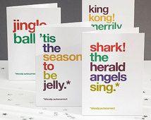 Humoristische kerstkaart Pack, grappige kerstkaarten, Jingle Balls Pack van vier, Christmas Carols, grappige AutoCorrectie-gratis VK levering