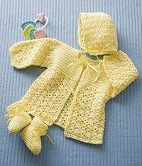Lemon Drops Jacket, Bonnet and Booties Set