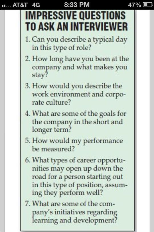 Questions to ask an interviewer.