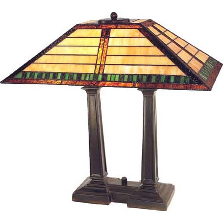 Two-post craftsman desk lamp with beige glass and green accents.