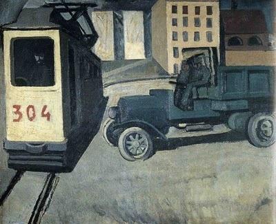 Mario Sironi, Il tram, 1920s.