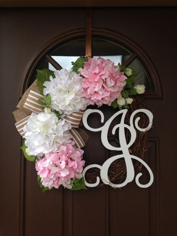 initial wreaths for front door111 best Flowenka wreaths images on Pinterest  Grapevine wreath