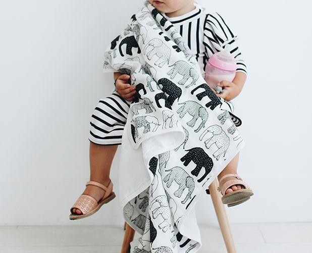 Tusks & Trunks Organic Triple Layer Bamboo Blanket