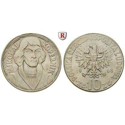 Polen, Volksrepublik, 10 Zlotych 1968, f.st: Volksrepublik 1952-1989. Kupfer-Nickel-10 Zlotych 1968. Nikolaus Kopernikus. Parch.… #coins