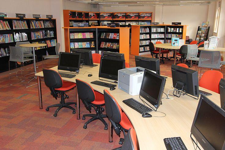 Curved IT desks, Carleton High School library