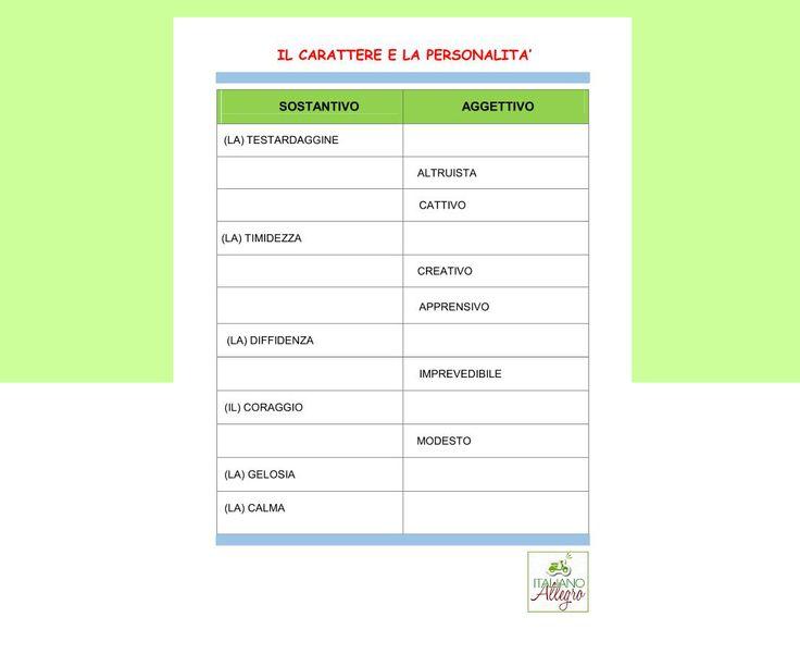 Il carattere e la personalità: attività di ripasso formazione aggettivo - nome e viceversa. #italianlanguage #pilloledigrammatica ##italianlexicon #learningitalianonskype #scribblar #learningitalian #italy