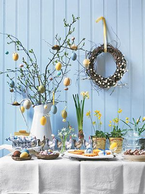 As is the custom in Czech Republic, Austria, Germany, and the Ukraine, Easter eggs can be hung from branches.    For hanging, secure satin and grosgrain ribbon loops to the wide ends of the eggs with a glue gun. You can also suspend smaller candy eggs from the branches.