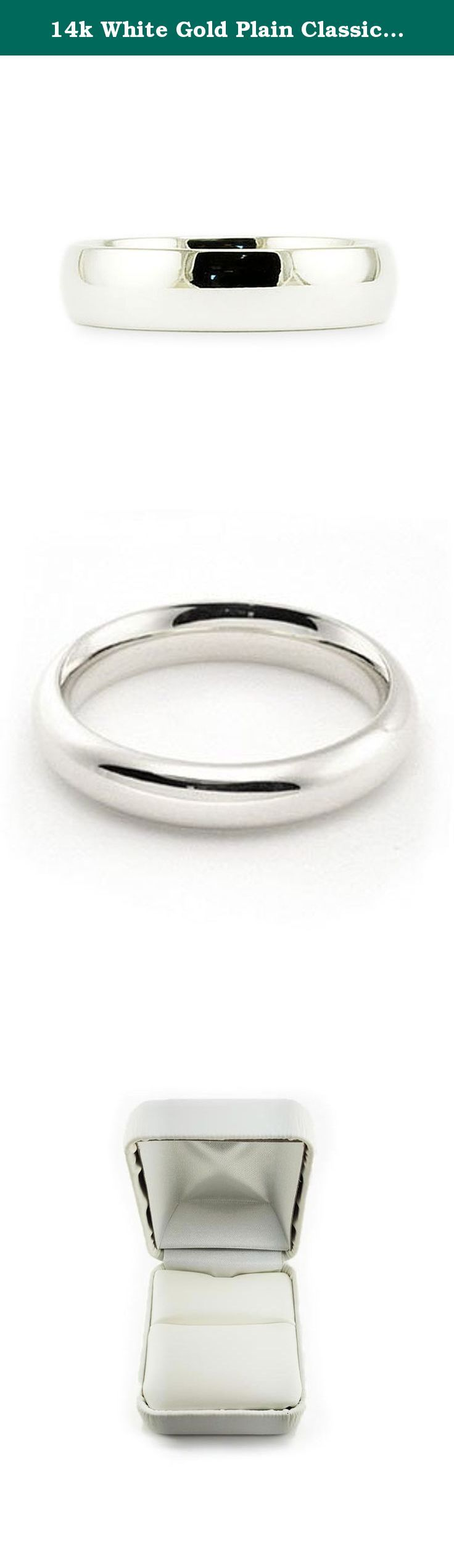 14k White Gold Plain Classic 4mm COMFORT FIT WEDDING BAND size 6.75. This beautiful classic band has a slightly rounded body, bright finish and is comfort fit. The comfort fit design features a rounded polished interior that allows the ring to slide easily and rest comfortably on the finger. Caring For Your Jewelry To keep your jewelry shining and scratch-free, avoid contact with harsh chemicals and chlorine. To clean gold jewelry, use warm water and a mild soap. We do not suggest using a...
