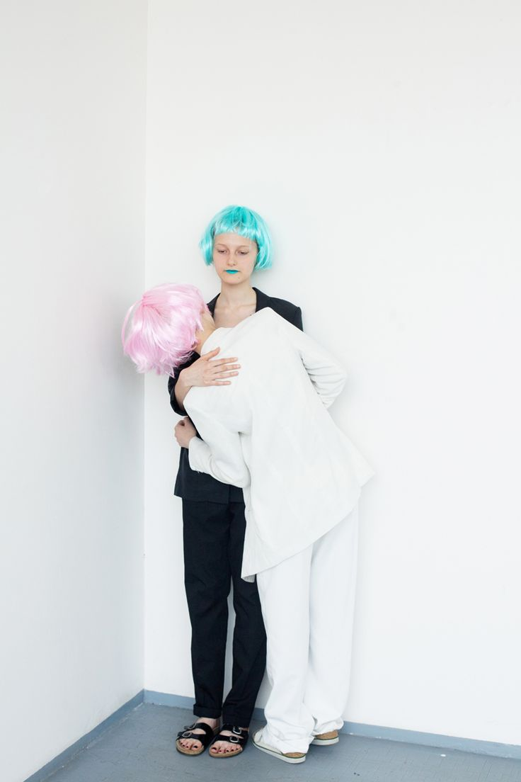 Project: Candy  hair: Kateřina Muratová styling: Alice Reindlová photo: Valentýna Janů model: Marie Tučková, Nikola Čablová  #fashion #editorial #candy #projecttraining #bw #blackandwhite #blue #pink #head #falsie #wig #chemistrygallery