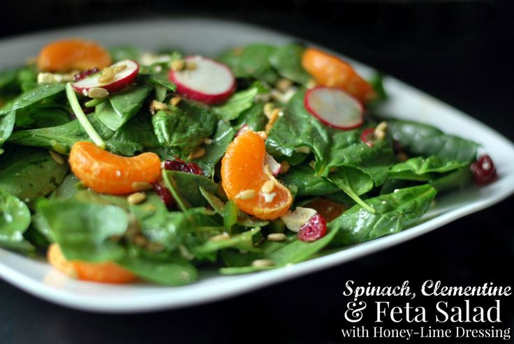 Spinach, Clementine & Feta Salad with Honey-Lime Dressing | Aunt Bee'...