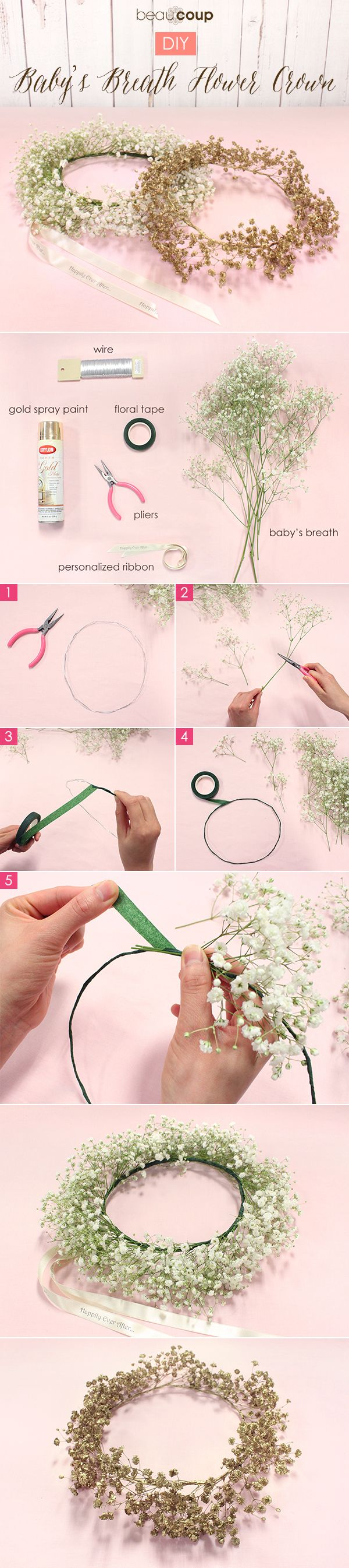 How-to DIY Baby's Breath Floral Crown  For full instructions, plus tips, visit the Beau-coup blog: http://blog.beau-coup.com/diy-babys-breath-flower-crown