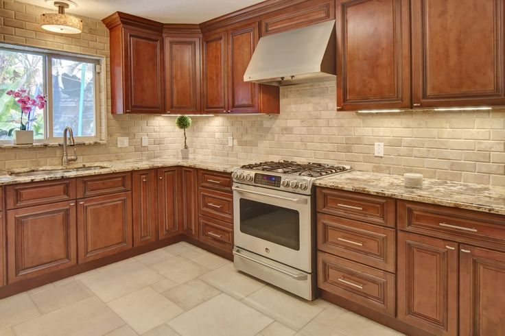 Traditional Kitchen With L Shaped Tuscany Walnut Subway