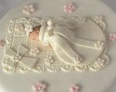 Fondant BABY CHRISTENING CAKE Topper Baby in Christening Gown and Cross with Quilt