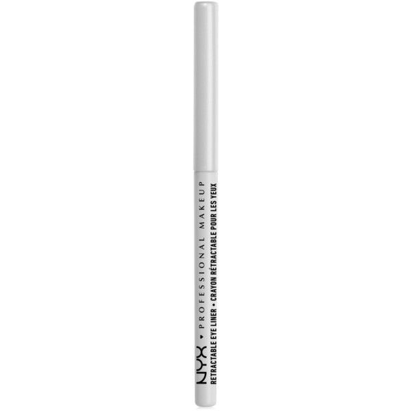 Nyx Professional Makeup Mechanical Eye Pencil ($5) ❤ liked on Polyvore featuring beauty products, makeup, eye makeup, eyeliner, beauty, filler, white, pencil eyeliner, pencil eye liner and nyx