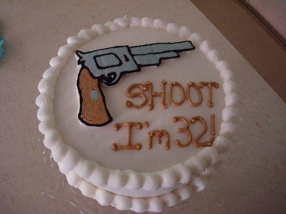 Hand gun birthday cake. My number's a little higher.... eeek!