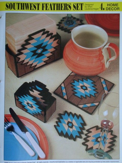 free plastic canvas coaster patterns | SOUTHWEST FEATHERS SET plastic canvas PATTERN by PatternsAndSuch