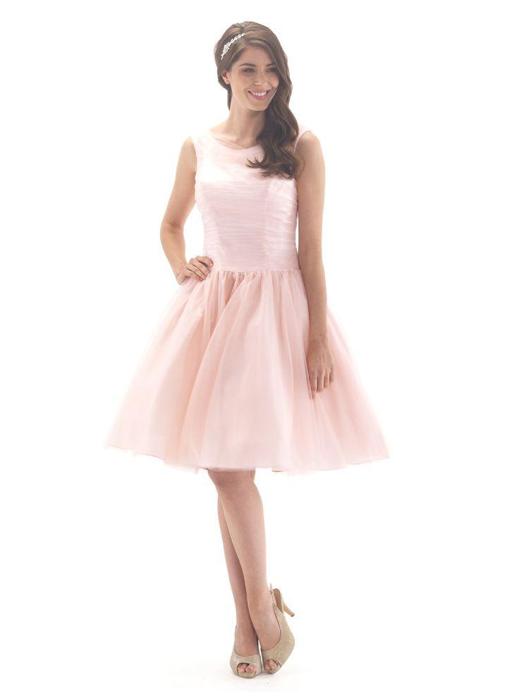 Linzi Jay EN378N Tulle Ruched Knee Length Bridesmaid Dress