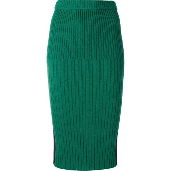 Joseph ribbed pencil skirt ($415) ❤ liked on Polyvore featuring skirts, green, blue skirt, green skirt, blue green skirt, knee length pencil skirts and ribbed skirt