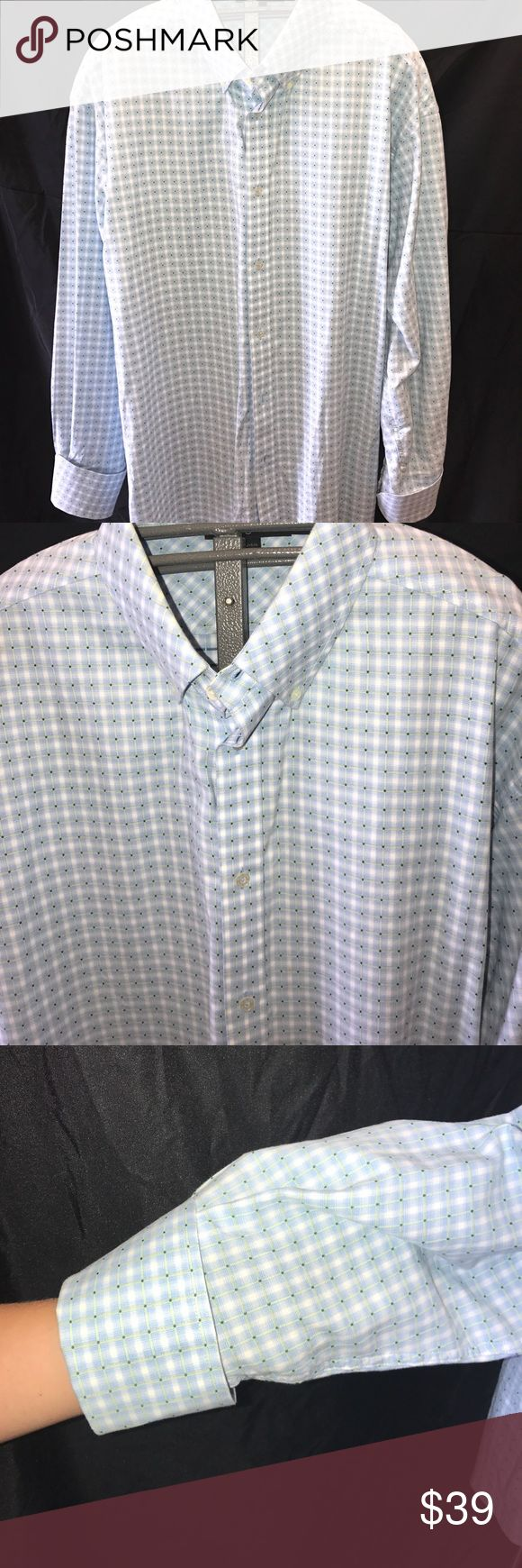 Sean John Men's Shirt XXXL French cuffs. Light blue checkered shirt with few stains as pictured on left cuff great for date night. French cuffs to style it up Sean John Shirts Casual Button Down Shirts