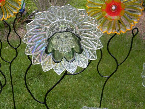 17 best images about yard art dishes glass pans on for Recycled glass flowers