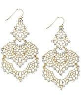 Bar III Gold-Tone Crystal Lace Chandelier Earrings. Middle eastern/moorish filigree design. Very pretty.