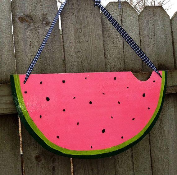 Festive Summer Watermelon Wooden Door Decor on Etsy, $35.00